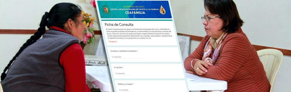 CEAFAMILIA atenderá online consultas en el área legal y psicológica durante el aislamiento social.